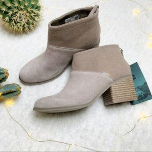 Toms Lacy Bootie in Desert Taupe Suede Size 7.5